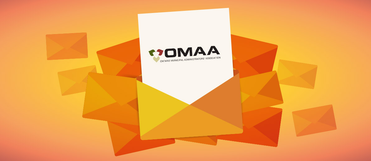 Orange envelopes with one one paper with OMAA written on it